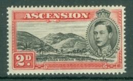 Ascension: 1938/53   KGVI    SG41c    2d   Black & Scarlet  [Perf: 14]  MH - Ascension (Ile De L')