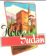 ETIQUETA DE HOTEL  -HOTEL SUDAN  -GRANADA - Etiquetas De Hotel