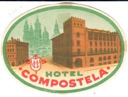 ETIQUETA DE HOTEL  -HOTEL COMPOSTELA  -SANTIAGO DE COMPOSTELA - Hotel Labels