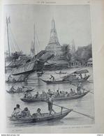 Le Siam Et Le Siamois - La Pagode Du Wat-Cheng à Bangkok - Page Original 1901 - Documents Historiques