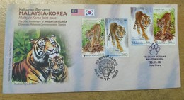 Malaysia FDC 2010 Set Diplomatic Relationship Tiger With Combo Postmark Korea Kota Bharu Kelantan & Brocure - Malaysia (1964-...)