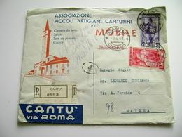 1951  A MATERA  DA MOBILI DI CANTU'   COMO  BUSTA  + LETTERA  INTESTATA PUBBLICITARIA   PICCOLI ARTIGIANI  CANTURINI - Documenti Storici
