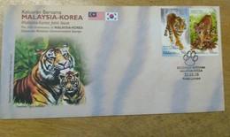 Malaysia FDC 2010 Set Diplomatic Relationship Tiger Korea & Malaysia With Brocure - Malasia (1964-...)