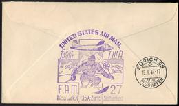 USA Flugpost Erstflug Sport Wintersport Ski Nach Zürich Schweiz 1949 - Hiver