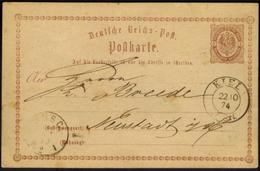 Deutsches Reich Ganzsache P 1 Mit K2 Kiel 22.10.1874 Nach Neustadt Holstein - Allemagne