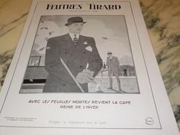 ANCIENNE PUBLICITE CHAPEAU FEUTRES TIRARD 1930-1931 - Affiches