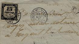 1867- Partie De Lettre Affr. TAXE 15 C ( 4 Marges ) Oblit. Cad T15 De Nogent-Hte-Marne  + C Boite Rurale  N I - Marcophilie (Lettres)