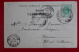 1901      CARTE  POSTALE  DE  SLATINA   POUR   LA  FRANCE     2  PHOTOS - 1881-1918: Charles Ier