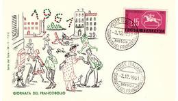 Fdc Serie Del Sole: GIORNATA FRANCOBOLLO 1961; No Viaggiata; AS_Brescia - 6. 1946-.. Repubblica