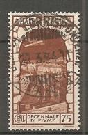 PA  Yv. N° 58,  SASS  N° A62   (o)  75c  Fiume  Cote  0,75 Euro BE  2 Scans - 1900-44 Vittorio Emanuele III