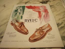 ANCIENNE PUBLICITE ROMEO ET FORTUNIO CHAUSSURE  UNIC 1951 - Habits & Linge D'époque