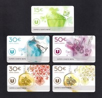 5 Carte Cadeau SUPER U   SAINTE MERE EGLISE (50).    Gift Card. Geschenkkarte - Cartes Cadeaux