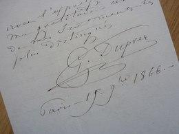 Gilbert Louis DUPREZ (1806-1896) Célèbre TENOR. Chanteur Opéra. VALMONDOIS. Autographe - Autographs