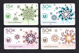 4 Carte Cadeau SUPER U  SAINTE MERE EGLISE (50).     Gift Card. Geschenkkarte - Cartes Cadeaux