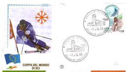 Fdc Filagrano: COPPA DEL MONDO DI SCI 2000; No Viaggiata; AF_Brescia - 6. 1946-.. Repubblica