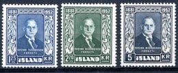 Iceland, 1952, President Bjornsson, Top Value Missing, MNH, Michel 281-283 - Iceland