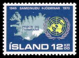 Iceland, 1970, United Nations 25th Anniversary, MNH, Michel 449 - Iceland