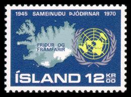 Iceland, 1970, United Nations 25th Anniversary, MNH, Michel 449 - Islande