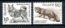 Iceland, 1980, Dog, Polar Fox, Animals, Fauna, MNH, Michel 550-551 - Islande