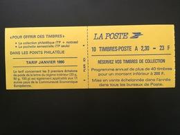 CARNET MARIANNE DE BRIAT 2,30F ROUGE GOMME, DENTELE 3 COTES Y&T 2629-C 1 - Neuf, Non Plié, Avec Numéro - Booklets