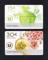 2  Carte Cadeau Super U  BREHAL (50).   Gift Card. Geschenkkarte - Cartes Cadeaux