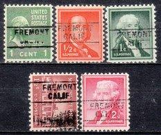 USA Precancel Vorausentwertung Preo, Locals California, Fremont 745, 5diff. - Préoblitérés