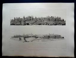 4 HÉLIOGRAVURES CHAUVET ...FRANCE...CARCASSONNE...LES FORTIFICATIONS EN 1853 ET APRES RESTAURATION PAR VIOLLET LE DUC - Historical Documents