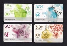 4  Carte Cadeau Super U  LES PIEUX (50).   Gift Card. Geschenkkarte - Cartes Cadeaux