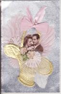 Amoureux, Lovers, Ajoutis Ruban, Panier Doré, Fond Argent, Belle Carte - Couples