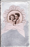 Amoureux, Lovers, Ajoutis Ruban, Fond Argent, Belle Carte - Couples