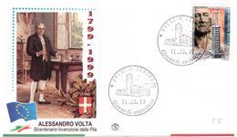 Fdc Filagrano: A. VOLTA La Pila  1999; No Viaggiata; AF_Brescia - 6. 1946-.. Repubblica