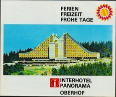 DDR Ferien Freizeit Frohe Tage Interhotel Panorama Oberhof. Faltblatt 6 Seiten, FDGB, 2 Scans, Sehr Gut Erhalten, 19x16 - Werbung