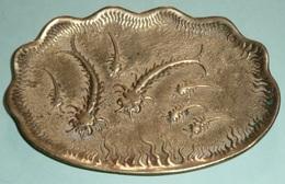 Rare Vide-poche En Bronze Doré, Décor Marin Arthropodes Insectes, Art Nouveau ?? - Bronzes