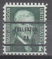 USA Precancel Vorausentwertung Preo, Bureau California, Fullerton 1278-81 - Préoblitérés