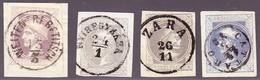 1867 4  Vollrandige 1 KR Zeitungsmarken;ver.Farbtöne Und Zentrum Stempel: Cattaro,Zara, Weiten- Trebetitsch, Nyiregykaza - Zeitungsmarken
