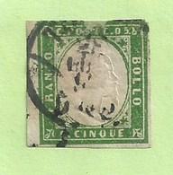 Timbre Italie - Sardaigne N° 5 Vert émeraude (déchirure Haut ) - Cote 125,00 Euros - Sardaigne