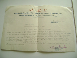 AMC ARREDI METALLICI  NAPOLI S. GIOVANNI A TEDUCCIO  LETTERA INTESTATA - Documenti Storici