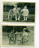 CHIENS 468 Lot 2 Cartes Bébés Et Chiens Publicité GRANDS MAGASINS SAMARITAINE 1932 - Hunde