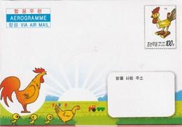 Aerogramme - 2005 Chicken Figures Made Of Millet Stalks - Corea Del Norte