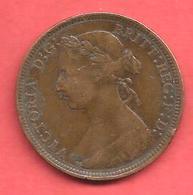 1/2 Penny , GRANDE BRETAGNE , Bronze , 1889 , N° KM # 754 - 1816-1901 : Frappes XIX° S.