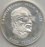 Ferrari Enzo, Auto Ferrari, 1989, Medaglia Commemorativa 1° Anniversario Della Morte, Ag. 925, Gr. 36, Mm. 42. - Italia