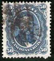 BRAZIL #0025  -  DOM PEDRO Ll   BLACK  BEARD  -  50 Rs   BLUE- 1866 - Brasil