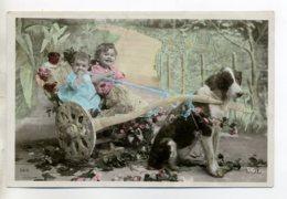CHIENS 575 Enfants Conduisant  Attelage Voiture à Chien   1910 écrite - Hunde