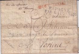 Marque D'entrée Espagne Par Bayonne Noel 93 Lettre Avec Texte De QUIPUZCOA Pays Basque Pour Lorient - 1801-1848: Précurseurs XIX