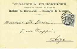 CP/PK Publicitaire ANTWERPEN 1902 - Entête LIBRAIRIE A. DE KONINCKX - Boekhandel Te ANTWERPEN - Antwerpen