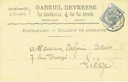 CP/PK Publicitaire ANTWERPEN 1902 - Entête GABRIEL DEVREESE - Boekhandel Te ANTWERPEN - Antwerpen