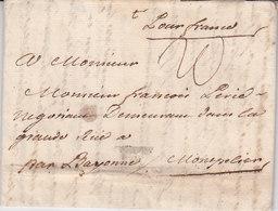Lettre Avec Texte De Ceuta Maroc Du 20/11/1761 Pour Montpellier Taxe 20 - Marcophilie (Lettres)