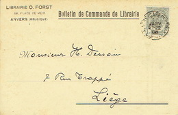 CP/PK Publicitaire ANTWERPEN 1908 - Entête O. FORST - Boekhandel Te ANTWERPEN - Antwerpen
