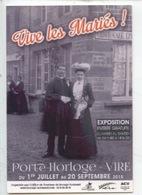 Vive Les Mariés (cp Vierge) Vire Exposition 2015 Couple Place Cidre Café épicerie - Couples