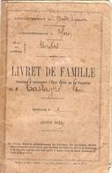Livret De Famille D'Urdos En Aspe (64), Instituteur Jean-Louis Castagné, Mariage En 1929 Avec Marceline Lapêtre, Vichy - Documents Historiques